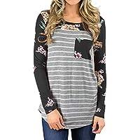 Strung Damen Neu Herbst Sweatshirt Langarm Shirt O-Ausschnitt Druck Floral Streifen Bluse Tunika Top Jacke T-Shirt Oberteile Casual Strickjacke Hemd Sweater Mantel Tops Tee Shirt