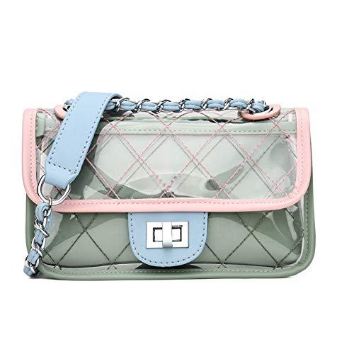 Klassische Flap Clutch (WWDDVH Klassische Clutch Messenger Bags Kleine Kette Schulter Flap Bag Exquisite Transparente Tasche Stilvolle Crossbody-Black22X13X9Cm)