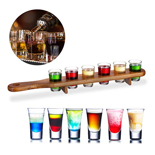 Relaxdays Schnapsbrett Holz, 6 Schnapsgläser, 4 cl, praktische Schnapslatte, halber Meter, tolle Geschenkidee, Shotbrett, braun (Glas Holz Shot)