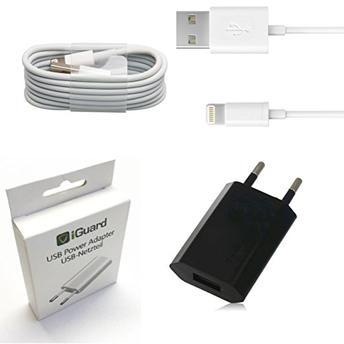 [SET] Original Apple Lightning Kabel Ladekabel 1,2m + Netzeil iGuard Schwarz geeignet für Apple iPhone 5 5S 6 6S 7 PLUS / ZERTIFIZIERT MFI / Cable / Stromadapter 5W 1A