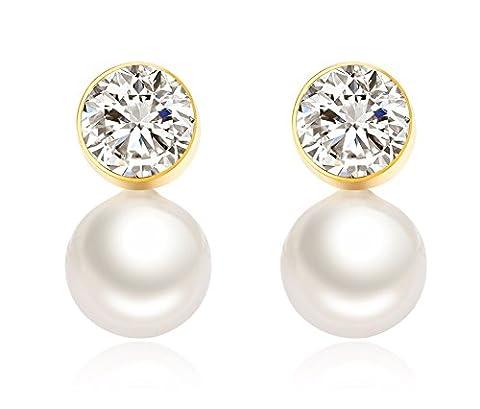 Vnox l'acier inoxydable crystal freshwater pearl boucles d'oreilles pour les femmes,les filles,or - Nativo Americano Del Turchese Orecchini