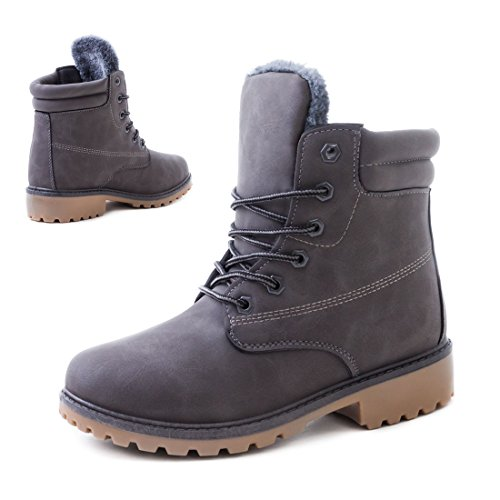 Robuste Damen Boots Schnür Stiefelettten Schuhe in Lederoptik Grau Toronto