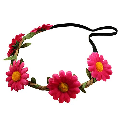 Bandeau-SODIAL(R) Femmes Style Boho Floral Fleur Bande de cheveux Bandeau pour Mariage Partie Festival (Rose Rouge)