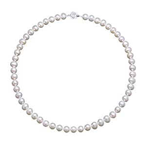 b78b7599bfa6 Bild nicht verfügbar. Keine Abbildung vorhanden für. Farbe  VIKI LYNN 7-8  mm Süßwasser Perlen Halskette in Weiß mit Sterlingsilber 925 Metallteil  Geschenk