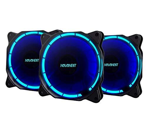 upHere 120 mm rot LED Silent Fan für Computer Fällen, CPU, Kühler und Heizungen Ultra Leise High Airflow Gehäuselüfter, Twin Pack blue - Silent Computer-fan