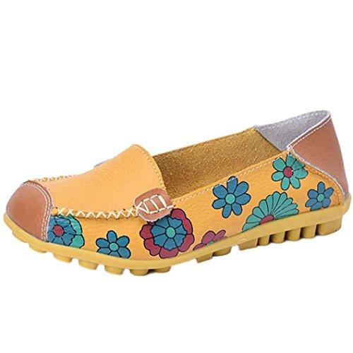 tirutsch Schuhe Loafers Weiche Freizeit Wohnungen Weibliche Komfortabel Freizeitschuhe (35 EU, Gelb) (Pleaser-plattformen)