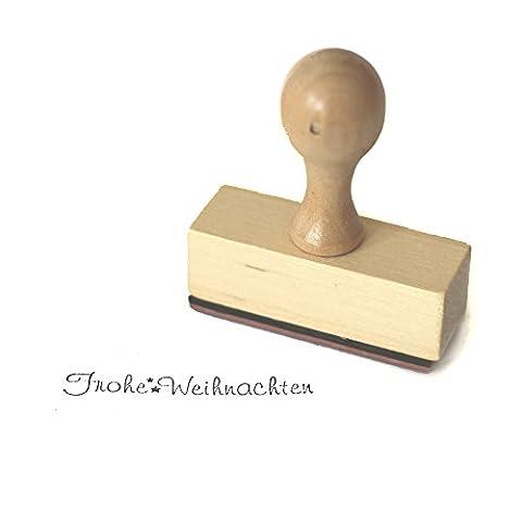 Stempel Frau Wundervoll - Frohe Weihnachten - aus Holz, Schrift-/ Motivgröße: 6 x 1,3 cm / Motivstempel Textstempel Gummi Holz Gummistempel Stempel Gastgeschenk Ministempel Dekostempel