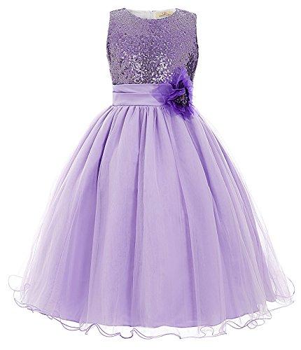 inzessin Hochzeit Festzug Kleid Mit Schleife Lila 6-7 jahre (Schönes Kleid Mädchen)