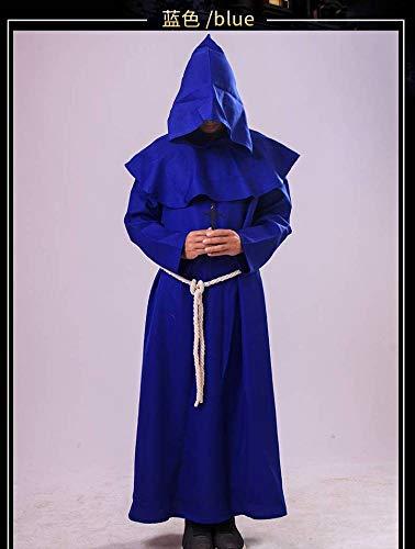 WEII Halloween Kostüm mittelalterlichen Priester Robe COS Kostüm,Blau,L