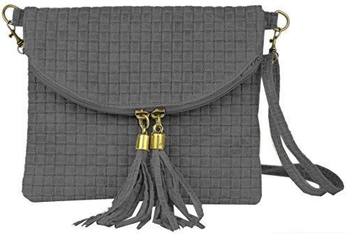 Bags4Less Damen Dubai Clutch, 4x19x22 cm Flecht Hellgrau
