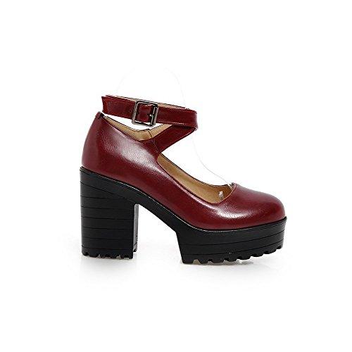 AllhqFashion Damen Rein Weiches Material Hoher Absatz Schnalle Rund Zehe Pumps Schuhe Weinrot