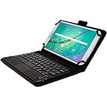 Funda Universal tipo Folio Cooper Cases (TM) Executive para Tablet de Huawei Honor, MediaPad T1 X1 7.0 con Touchpad y Teclado Bluetooth en Negro (Teclado QWERTY extraíble; soporte incorporado; batería recargable)