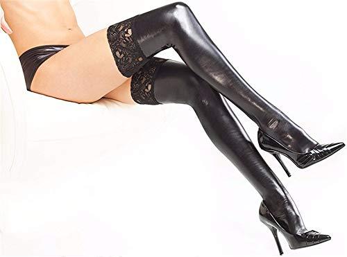 wangjian& Sexy Dessous schwarz Fetisch Latex Strümpfe Kunstleder Wet Look Fetisch schnüren Socken Pole Dance Kleidung Frau erotischer Schlauch