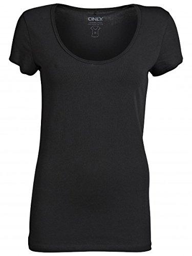 ONLY Damen T-Shirt, 15060053 LIVE LOVE LONG O-NECK SS TOP RPT (Weitere Farben), Größe:XL;Farbe:Black