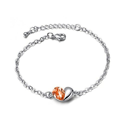Bracelet coeur cristal swarovski elements plaqué or blanc Orange
