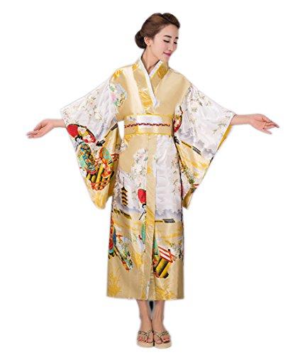 Yue Lian Damen Japanisch Yukata Kostüm mit Bindegürtel/Obi Kimono Geisha Muster (Gelb)