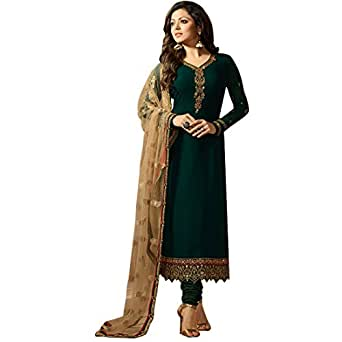 W Ethnic Women's Georgette Semi-stitched Salwar Suit (Green, Free Size)