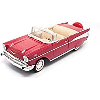 1957 Chevy Bel Air Convertible, Red - Lucky 92108 - 1/18 Scale Diecast Model Toy Car by Lucky