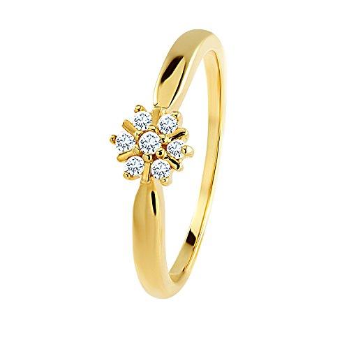 Diamond Line Diamant-Ring Damen 585 Gelbgold mit 7 Brillianten 0.10 ct. Lupenrein