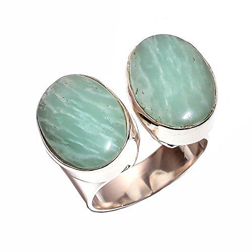 Anello in argento sterling 925taglia m 1/2regolabile, amazonite naturale artigianale donne gioielli cr3862