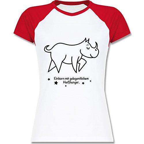 Typisch Frauen - Einhorn mit gelegentlichem Heißhunger - zweifarbiges Baseballshirt / Raglan T-Shirt für Damen Weiß/Rot
