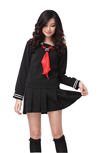 Sailor School Uniform (Nuoqi Sailor School Uniform Japanischer Anime Lolita Sailor Suit Long Sleeves Schuluniform L)