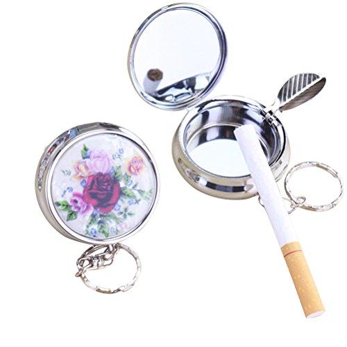 Preisvergleich Produktbild VORCOOL 2 Stücke Aschenbecher für Tasche Schlüsselanhänger mit Zigarettenhalter (zufällige Muster)