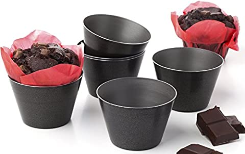 QUALITY BAKING SET OF 6 NONSTICK DARIOLE MOULDS - Perfect for chocolate molten lava cake Pans Puddings Raspberry Souffle pot pie Darioles muffins ramekins brownies custard souffles cups Tumblers molds - Size 8