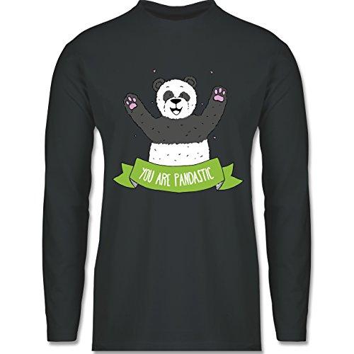 Shirtracer Statement Shirts - Süßer Panda You Are Pandastic - Herren Langarmshirt Dunkelgrau