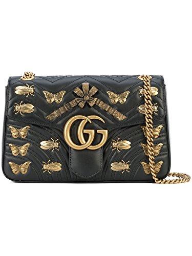 f9c548310398c Gucci Damen 443496DTDOT1000 Schwarz Leder Schultertasche