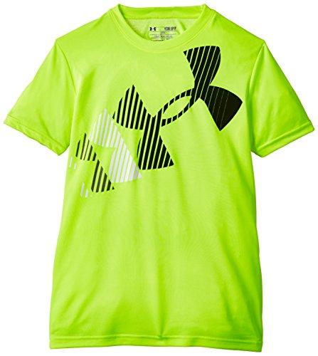 Rising alta visibilità Under Armour-Maglietta a maniche corte, con Logo, da ragazzo Giallo Yellow - High Vis Yellow FR : XS (Taille Fabricant : YXS)