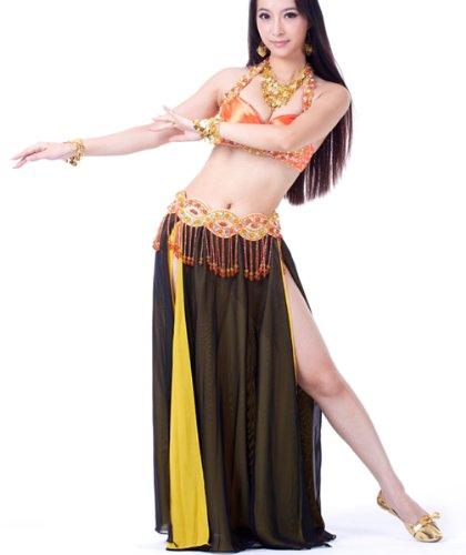 Dance Fairy danse du ventre costumes pleins de costume un soutien-gorge brillant de perles et un noir sexy fente haute en mousseline de soie longue jupe chaude égalé une chaîne (Et Halloween Orange Kostüm Noir)