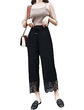 DianShaoA Mujer Casual Hueco Pantalon De Encaje Hueco Pantalones Anchos Talle Alto