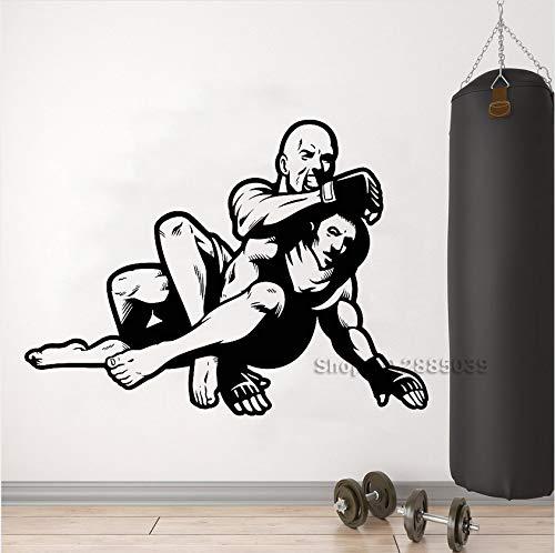 Ljtao Neue Lager Mma Kampf Kämpfer Vinyl Wandtattoo Kunst Martial Sport Aufkleber Martial Room Wandbild Innenwanddekor Tapete 76X56 Cm