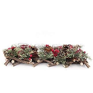 SIL Portavelas Festivo de Color Rojo Cereza/Cono de Pino/ramita – Estilo Madera/nórdico – (Capacidad para 4 Velas) – 39 cm