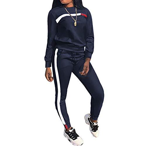 MINTLIMIT Trainingsanzug Damen 2 Stück Outfit Kurze Ärmel Streifen Jogginganzug Frauen Tracksuit Top T-Shirt Lange Hose Beiläufig Sport (Lange Marine, S)