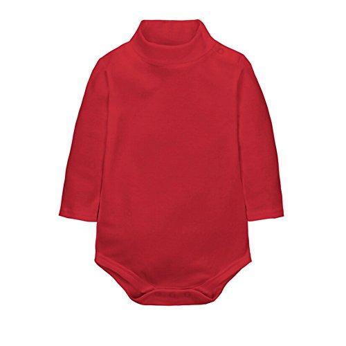 CuteOn Baby Jungen Mädchen Einfarbig Basic Turtleneck Baumwolle Bodysuit Strampler Rot 24 Monate -