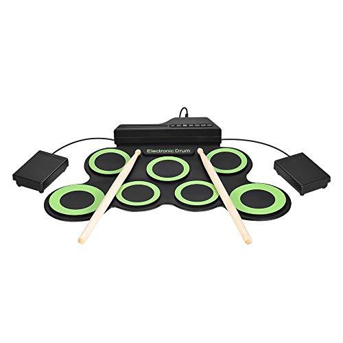 WMING Tragbare aufrollbare Trommel, elektronisches digitales Schlagzeug 7-Pad-Kit Musikübungsinstrument mit 2 Fußpedalen Trommelstöcken für Kinder Anfänger Kinder (Nicht eingebauter Lautsprecher)