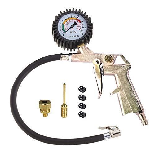 Hastrono Reifenfüll-Messgerät Reifenfüllmesser Luftdruckprüfer Reifenfüller Reifendruckmesser Tragbare Präzision Reifendruck Messgerät Reifendruckprüfer für Auto Motorrad PKW LKW,6er Adapter-Set