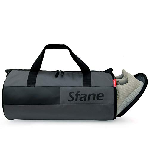 SFANE Duffel Gym Bag,Shoulder Bag for Men & Women with Shoe Compartment (Grey,Black)