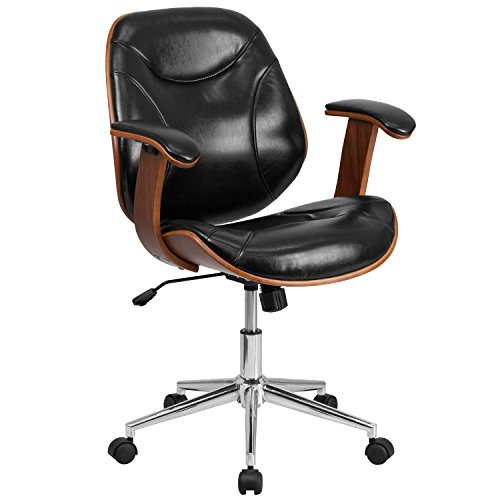 Flash Furniture Mid-Back Leather Executive Wood Swivel Chair with Arms, Metal, Black, 63.5 x 58.42 x 43.18 cm