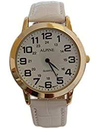 Hombres alpino '' s oro blanco PU cuero correa reloj analógico cuarzo Extra batería