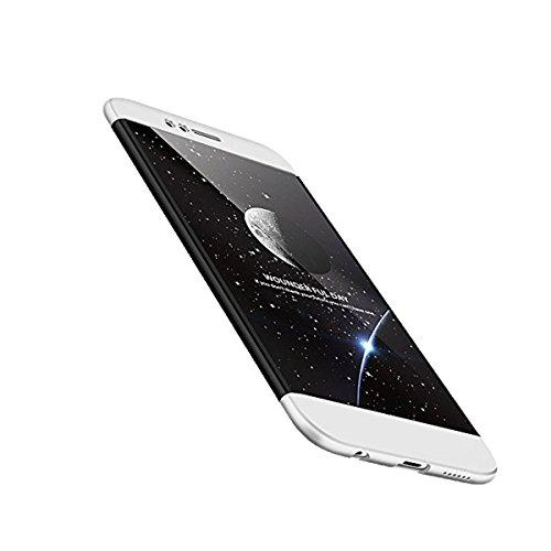 Huawei Nova 2 Hülle 3 in 1 Ultra Dünner PC harte Handy Schutzhülle 360 Grad Ganzkörper Schützend with Bumper Anti-Kratzer Shockproof für Huawei Nova 2 (schwarz+silber)