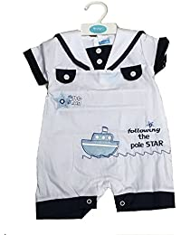 Baby Boys Spanish Style White Blue Dungaree Romper Outfit Plane 0-9 Months