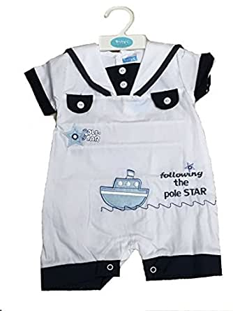 Baby Boys Sailor Romper Outfit White 0 3 3 6 6 9 Months 0 3