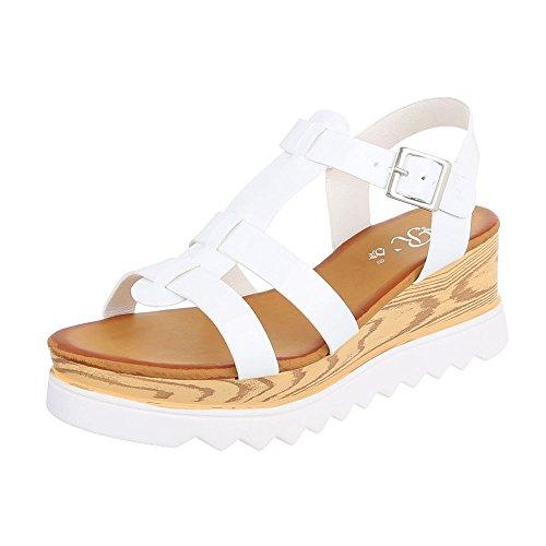 Riemchensandalen Damenschuhe Knöchelriemchen Riemchen Schnalle Ital-Design Sandalen / Sandaletten Weiß