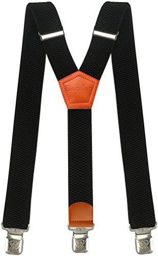 Hosenträger für Herren breit extra starken 4 cm mit 3er Clips Y-Form Lange für Männer und Damen Hose (Schwarz 2)