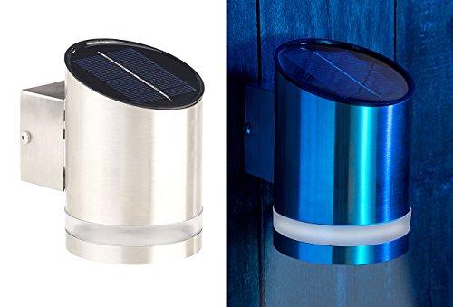 Lunartec Außenwandlampe: Elegante Solar-LED-Wandleuchte für den Außenbereich, Edelstahl, 20 lm (aussen-Wand-Lichter LED)