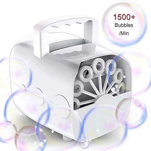 Seifenblasenmaschinen, JanTeel Tragbarer automatischer Bubble Maker, nachladbare Seifenblasenset mit USB-Kabel, 1500 Blasen pro Minute für im Freien/Innengebrauch (Batterien nicht enthalten) (weiß) (Park Spielen Freien Im)