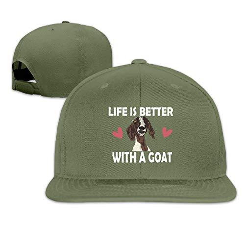 Osmykqe Life is Better with A Goat Men's Cap Summer Baseball Caps Snapback Hat Lightweight Soft Cotton Flat Cap Moss Tweed
